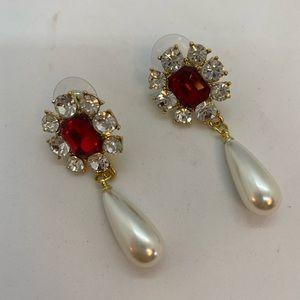 Red & pearl dramatic drop dangle pierced earrings